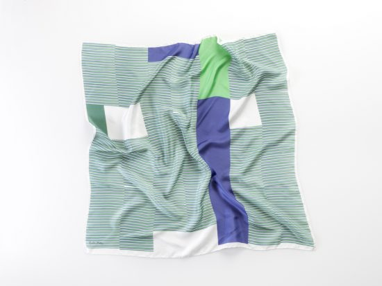 silk scarf kinetic design in green and blue