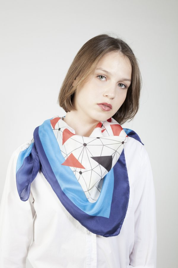 slik scarf flying macaws in blue and white