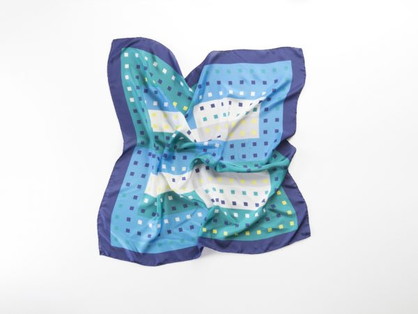 silk square scarf in blue and white