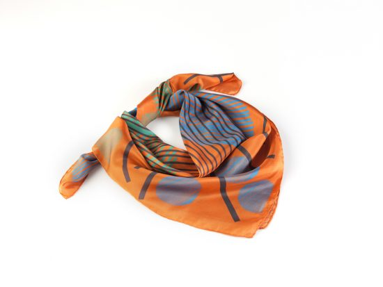 orange on silk square scarves