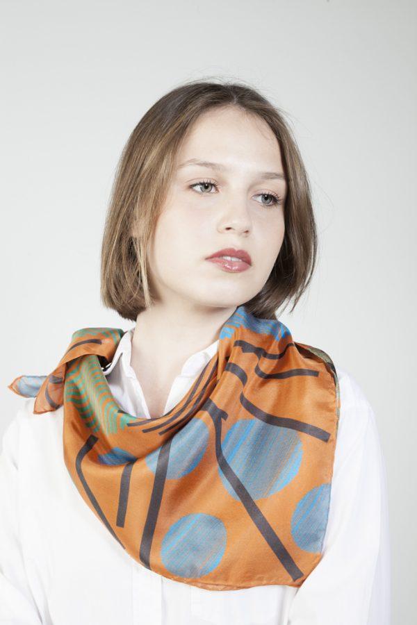 shop online this silk scarf in orange