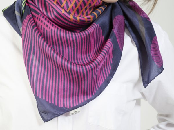 silk twill kinetic scarf deep blue and fucsia