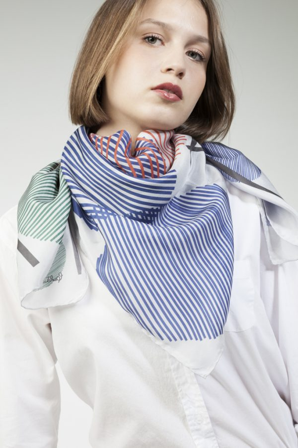 big silk scarf in white and blue