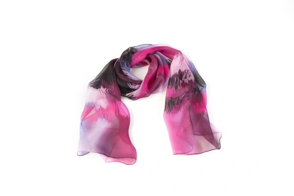 fulard de chifon fucsia y azul