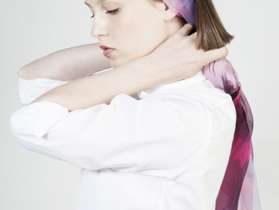 girl with silk foulard ribbon