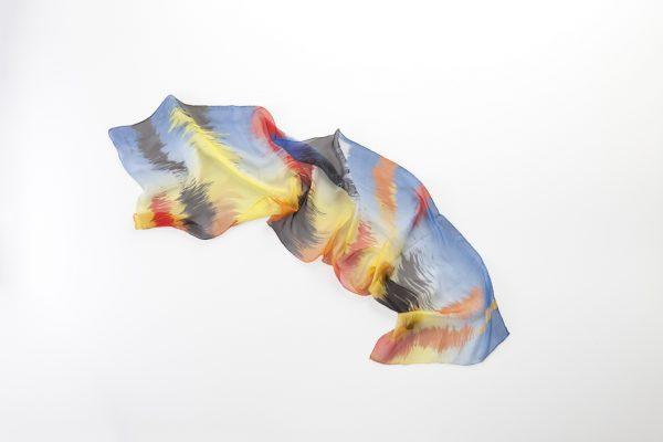Sunset unique silk foulard