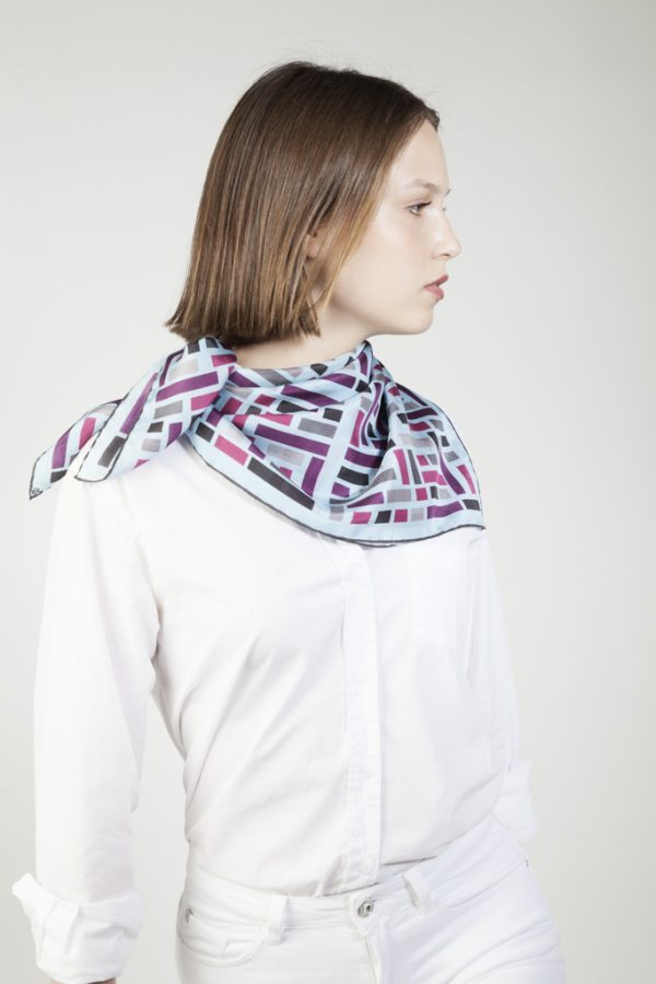 silk scarf in grey and blue colors