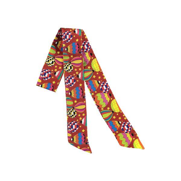accesorio de seda heho en españa color maron y globos