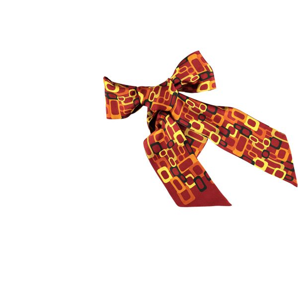 silk bow twilly links in red