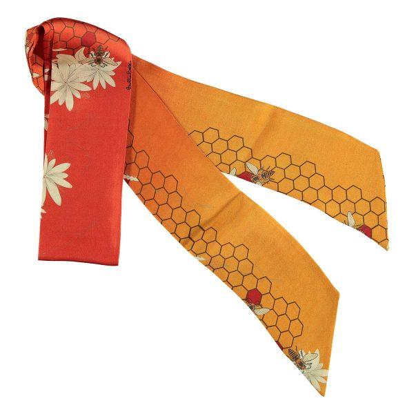 twilly de seda hecho en españa naranja