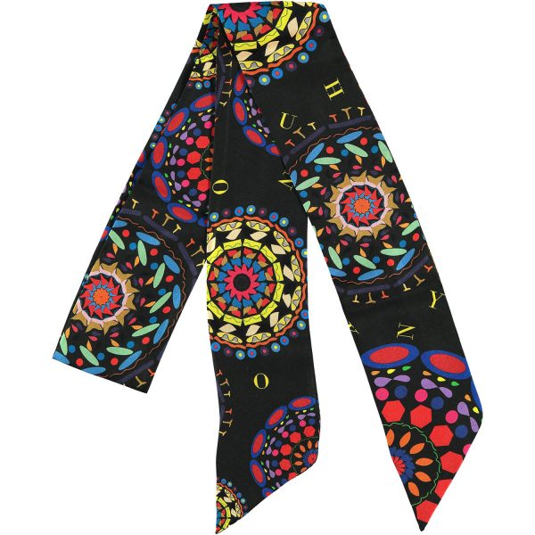 silk twilly made in spain in black and vibrant colors